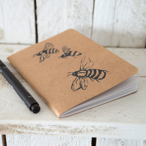 small bee notebook plain white paper hand printed sketchpad