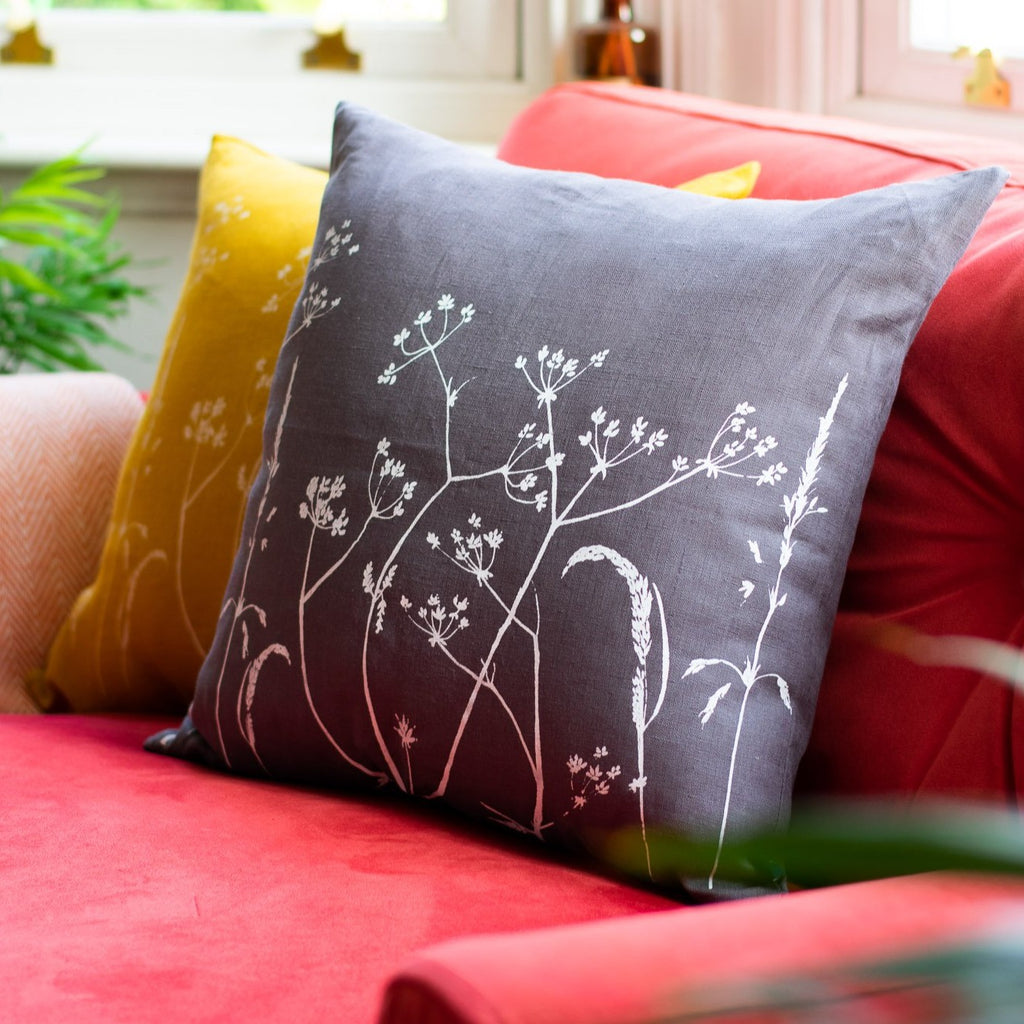 Slate Grey Cushion from the Hedgerow Collection by Helen Round