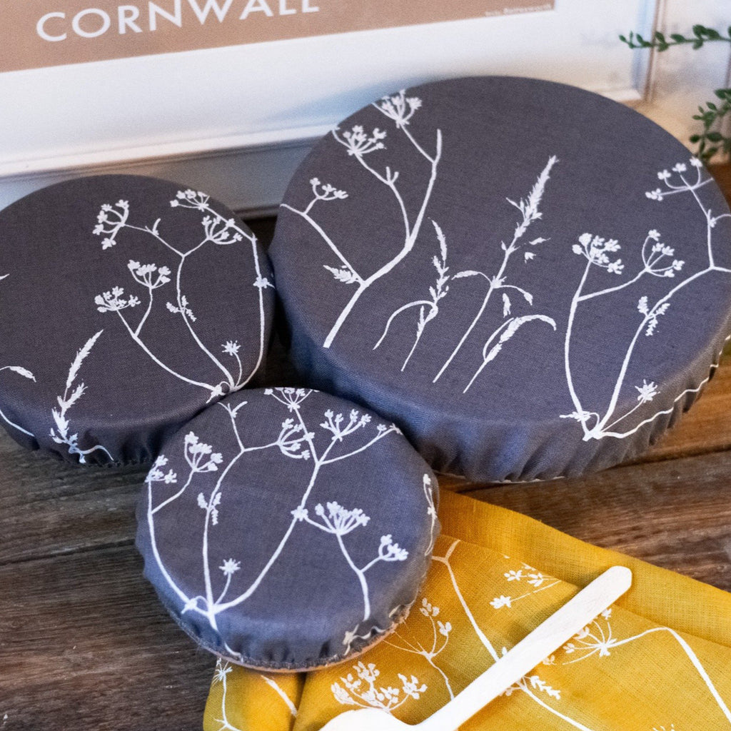 Reusable Bowl Covers in Slate Grey Linen with Hedgerow Design