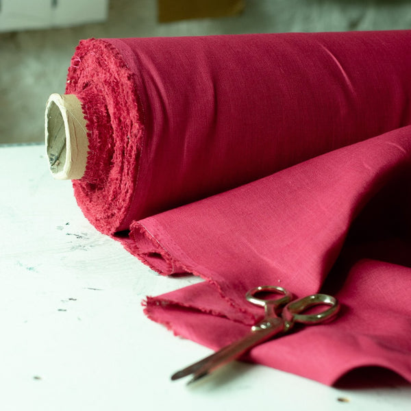 Raspberry Red Linen Fabric