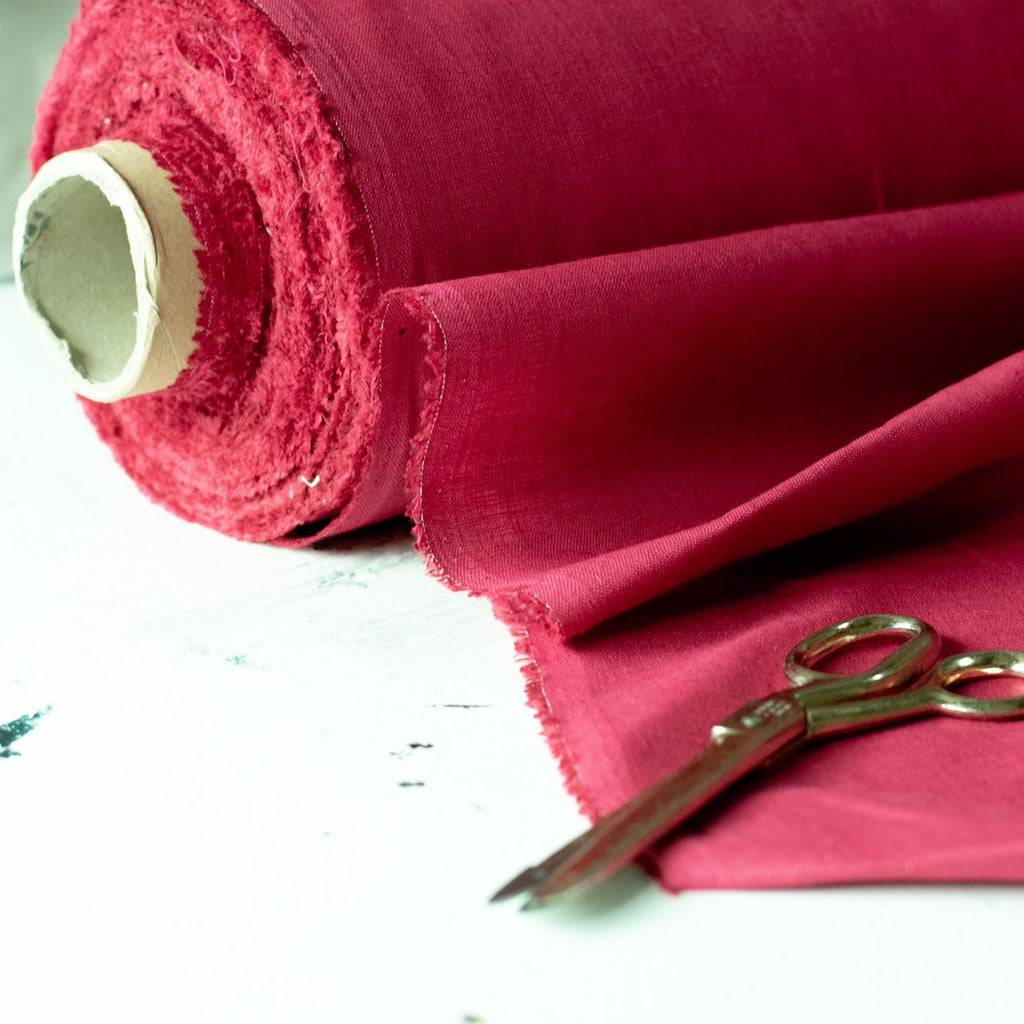 Red Linen Fabric by the meter