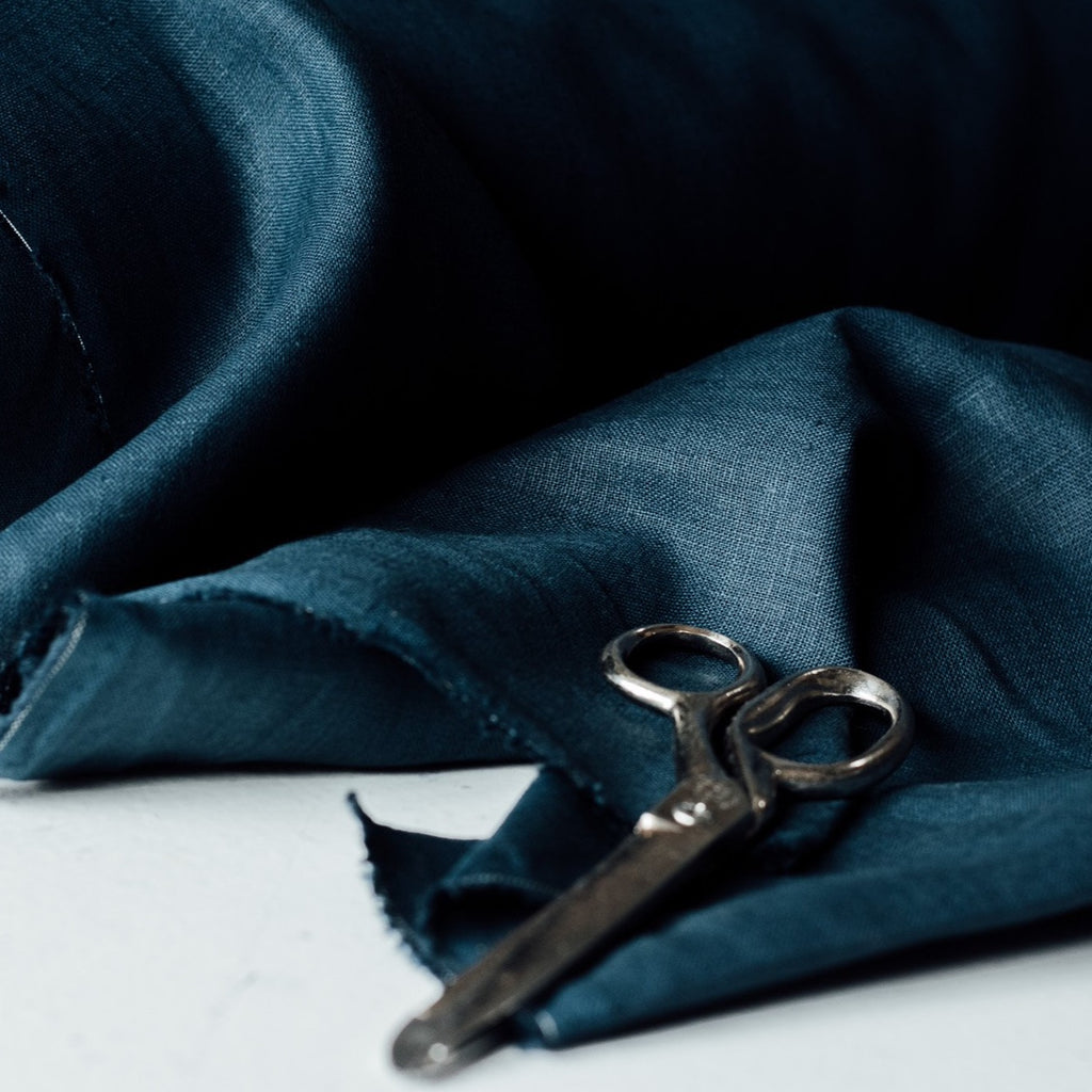 Linen Fabric in Navy Blue