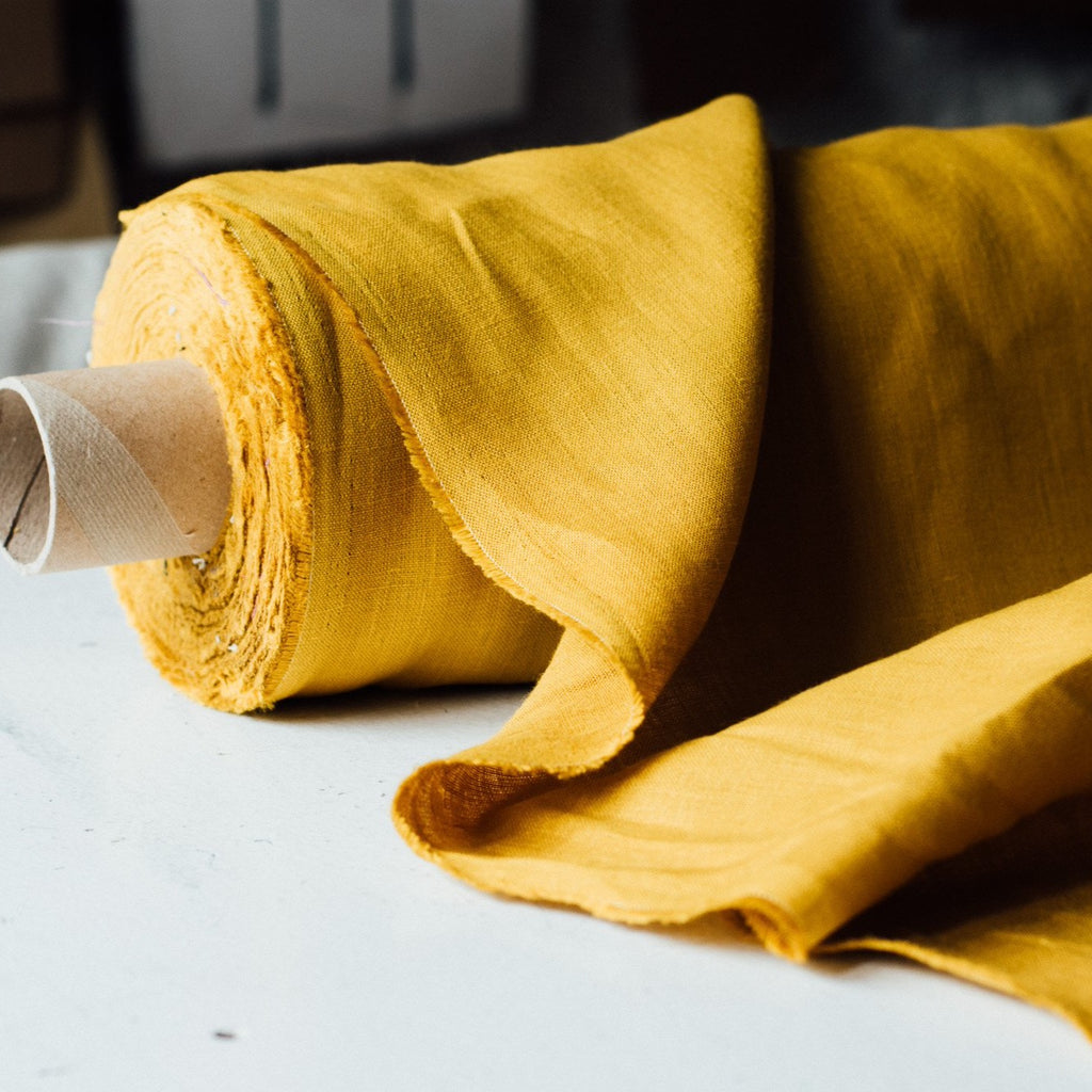Mustard Yellow Linen Fabric