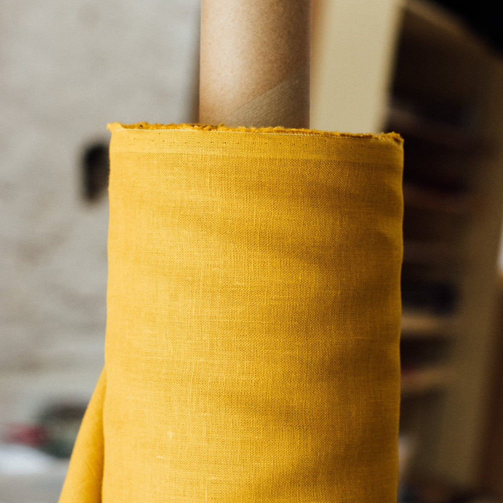 Soft Mustard Yellow Linen Fabric