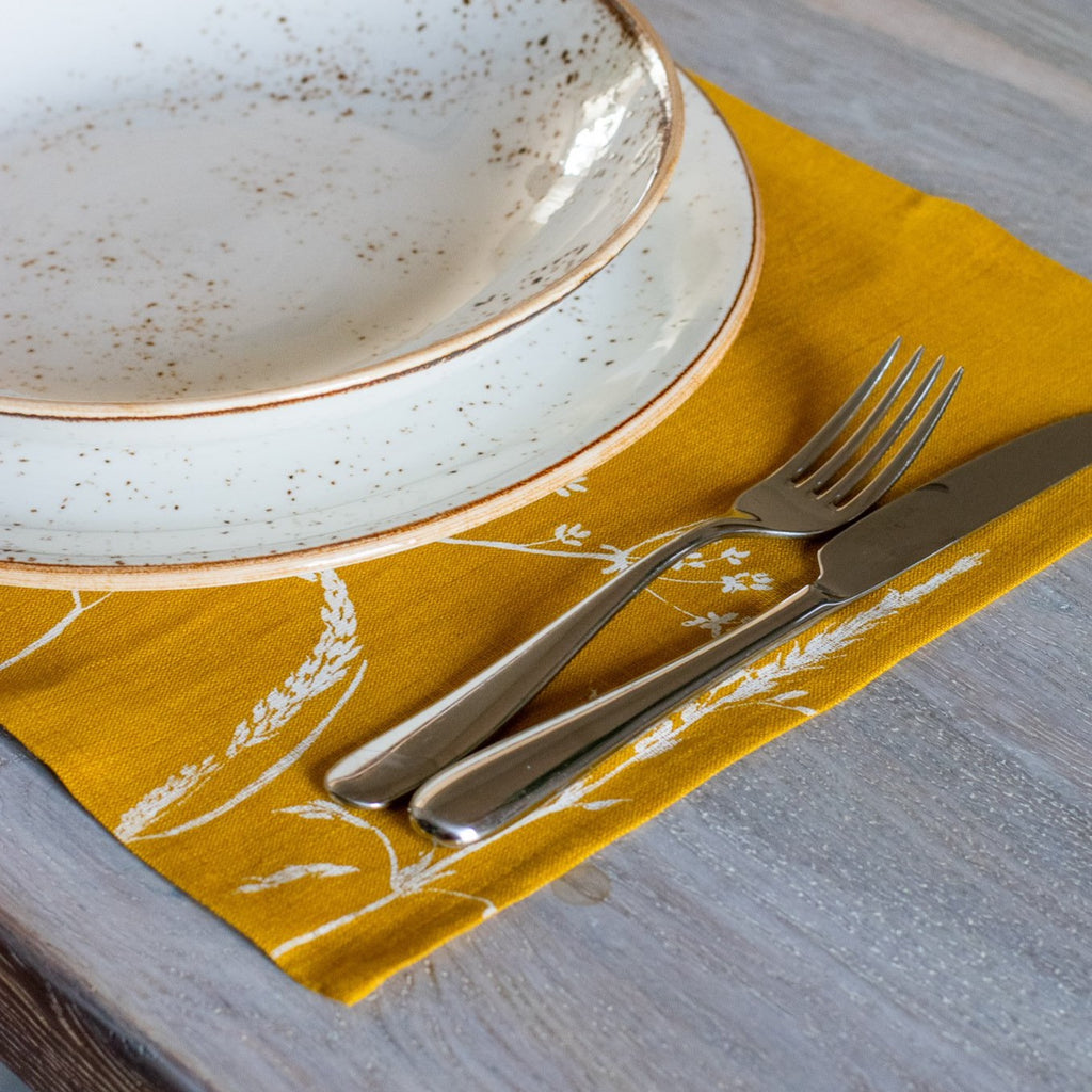 Mustard Yellow Linen Placemats