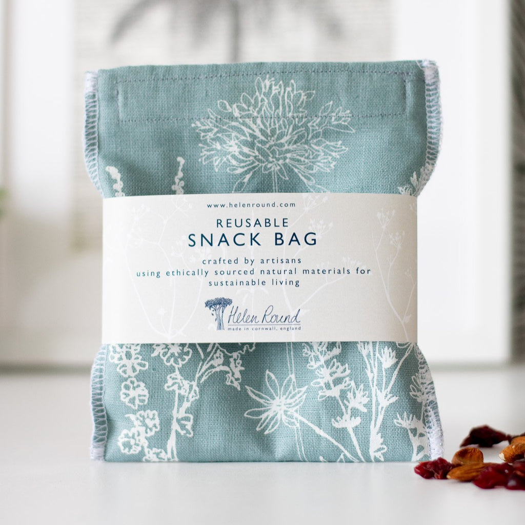 Duck Egg Blue Reusable Linen Snack Bag Eco Collection Helen Round