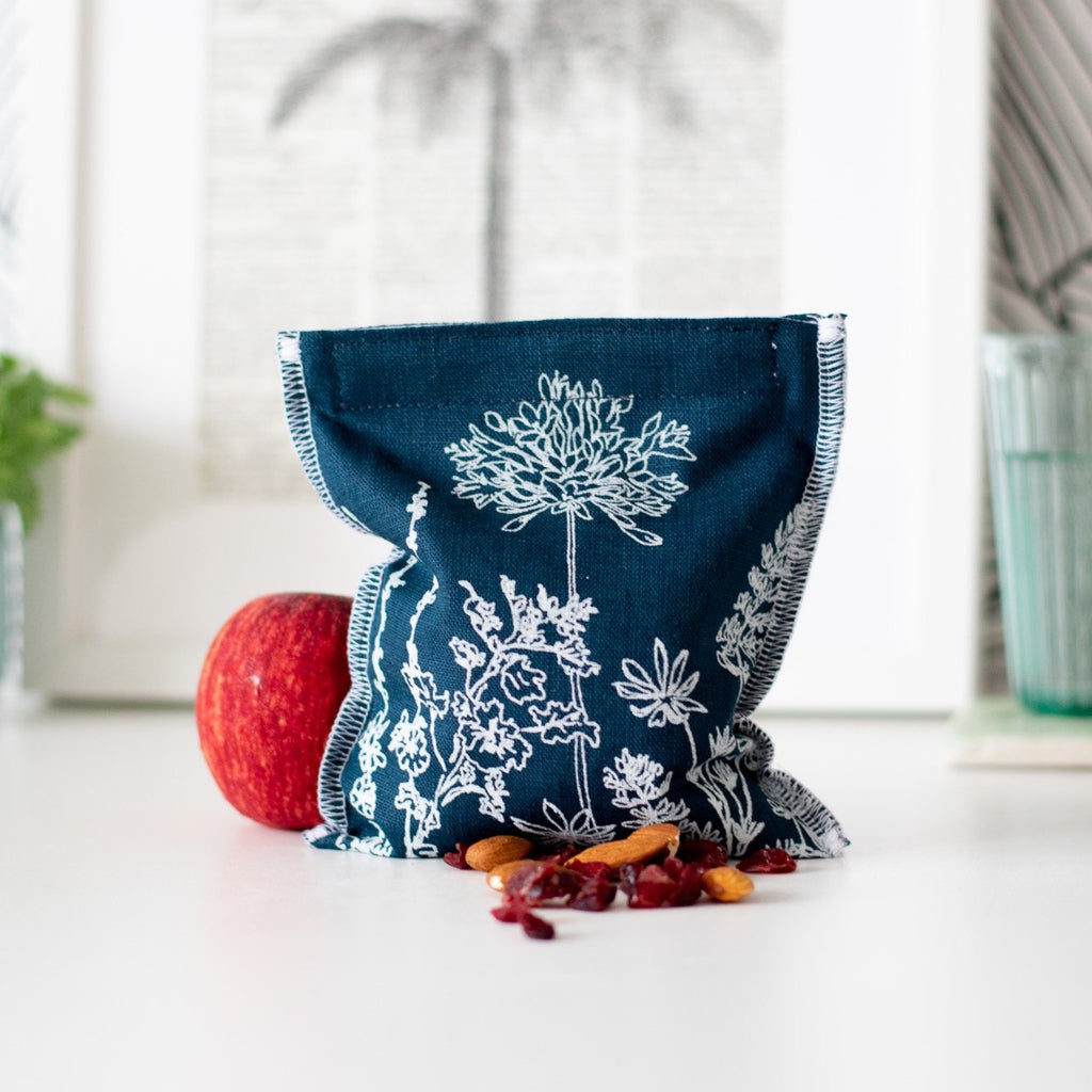 Blue Reusable Linen Snack Bag Eco Collection Helen Round