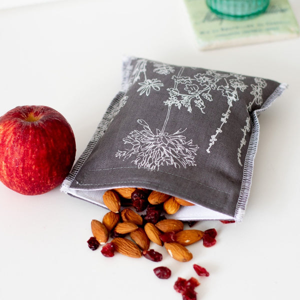 Grey Linen Sandwich Wrap with Nuts, Raisins and an Apple from the Garden Collection by Helen Round