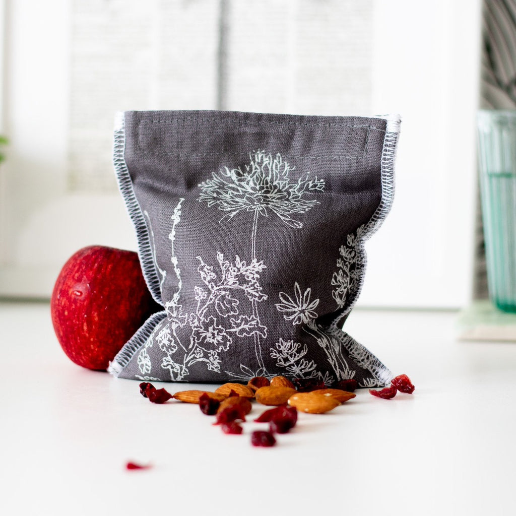 Slate Grey Reusable Linen Snack Bag Eco Collection Helen Round