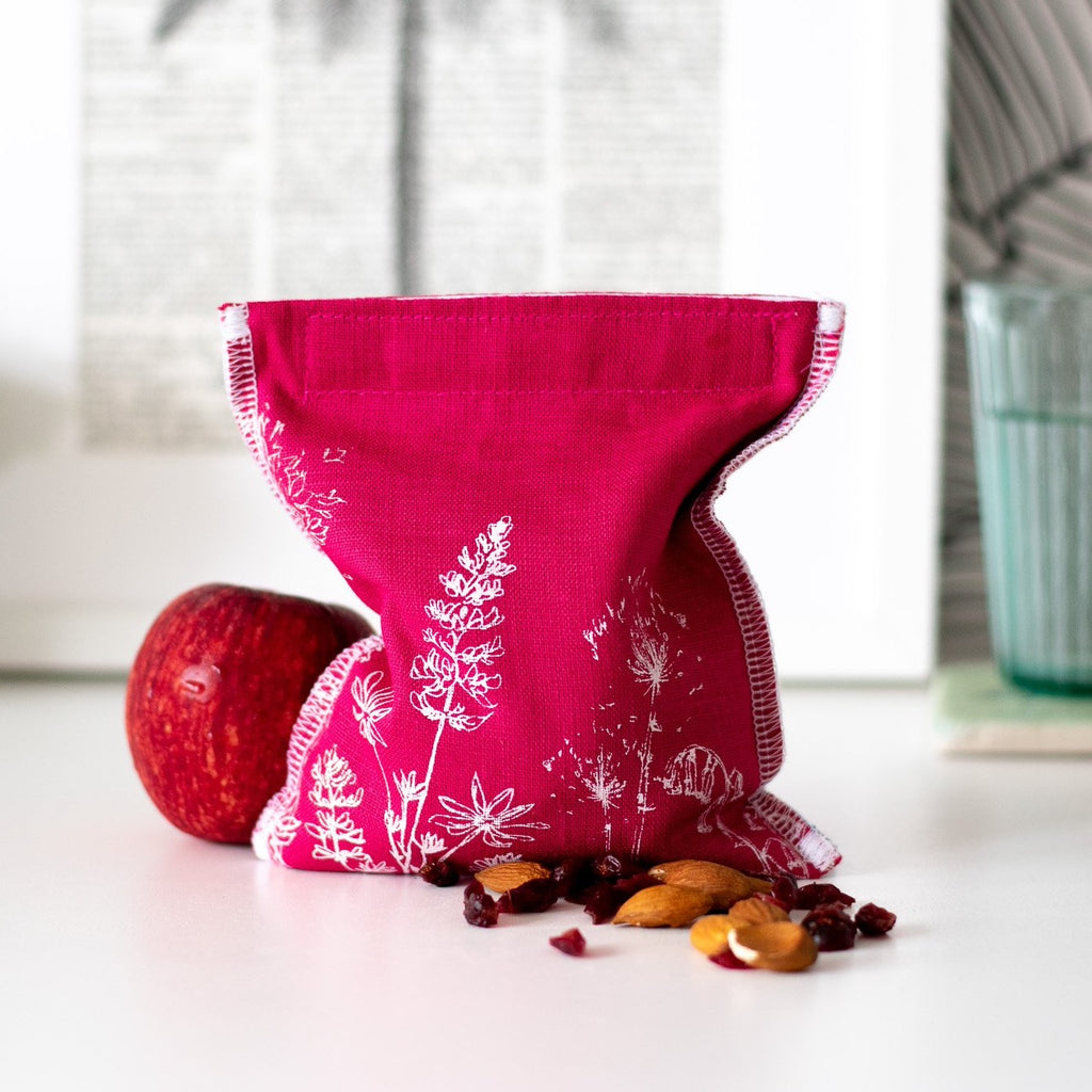 Raspberry Red Linen Snack Bag Eco Collection Helen Round