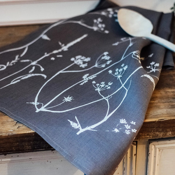 Linen Tea Towel Slate Grey in Hedgerow Design