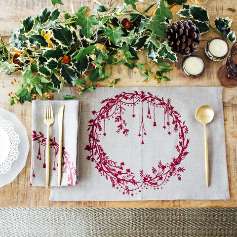 Christmas Collection Placemats and Napkin - natural