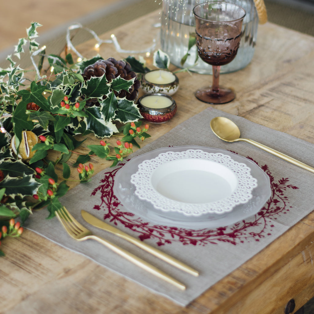 christmas placemats pure natural linen holly ivy