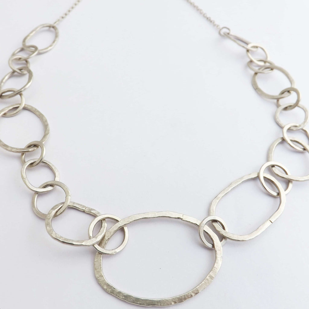 silver jewellery workshop hammered chain