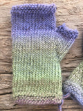 Hand spun, Hand knit Fingerless Gloves in Woodland Lavender