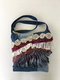 Denim Crazy Quilt Messenger Bag with Beads, Vintage Trim and Bead Fringe, Boho, Gypsy Style