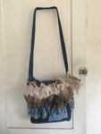 Denim Crazy Quilt Messenger Bag with Feather Accents, Gypsy Boho Style