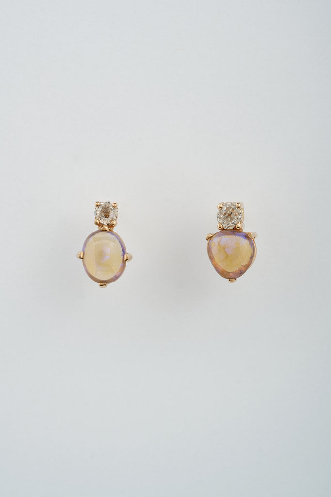 ANTIQUE DIAMOND OPAL DROPS
