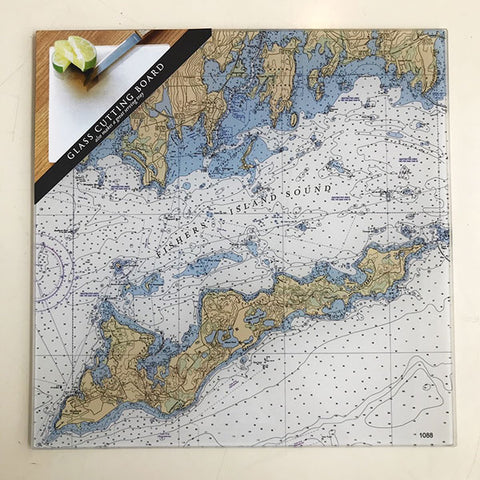Glass NOAA Chart Cutting Board