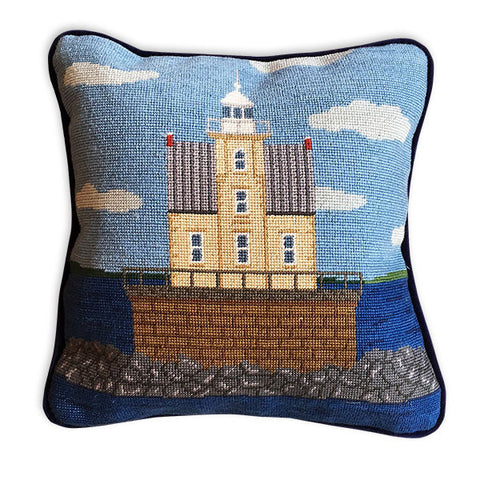 Rack Rock Lighthouse Needlepoint Pillow