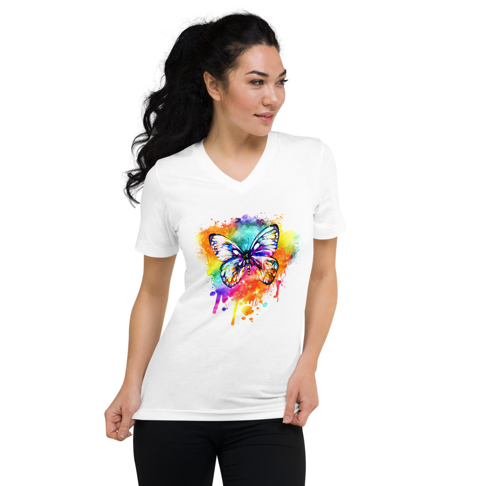Butterfly - Multi - Unisex Short Sleeve V-Neck