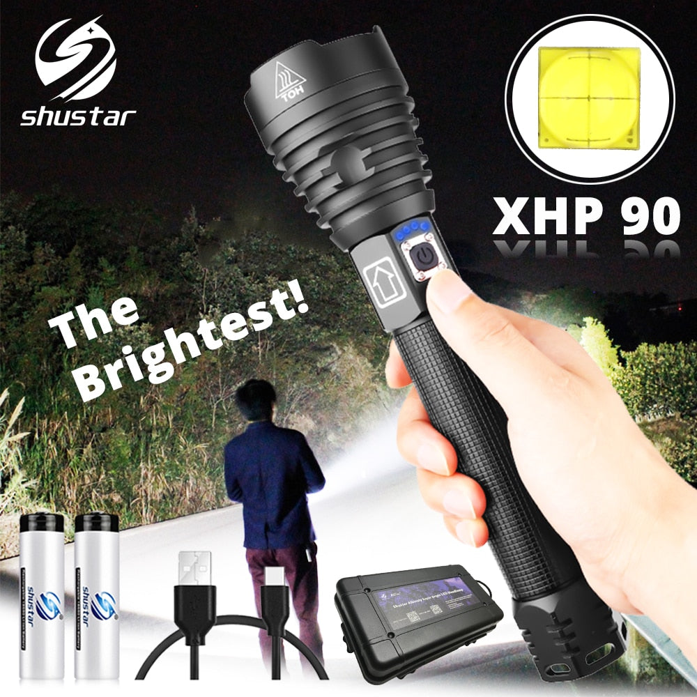 The brightest XHP90 LED Flashlight Tactical waterproof Torch 3 Lighting modes Zoomable Hunting camping lamps By 18650 or 26650
