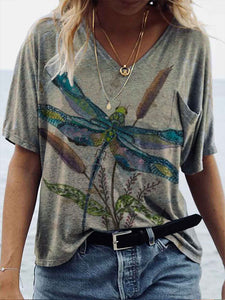 Women's Dragonfly Print Casual V-Neck Patch Pocket Short Sleeve T-Shirt