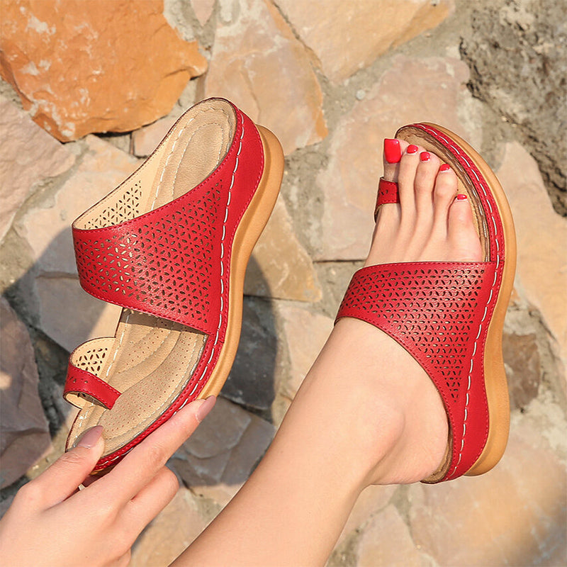 Ladies Hollowed-out Toe Wedge Orthopedic Slippers
