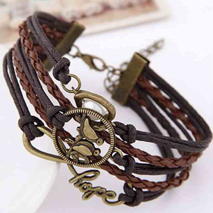 Retro Hope Letters Bird Friendship Multilayer Braided Bracelet