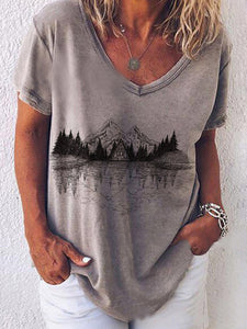 Ladies Black And White Landscape Painting Graphic Print Short Sleeve T-shirt