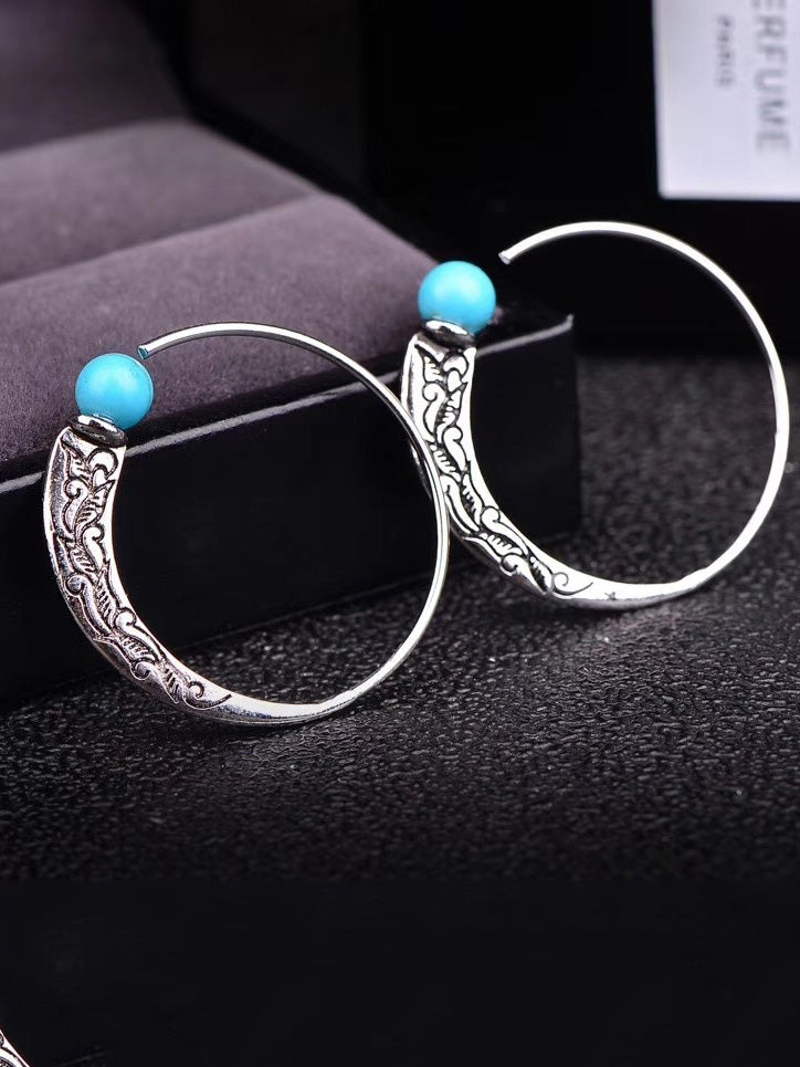 Women's Cowboy Style Silver Turquoise Earrings