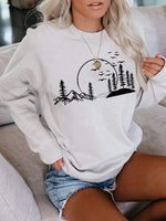 Ladies mountain scenery printing Apricot sweatshirt