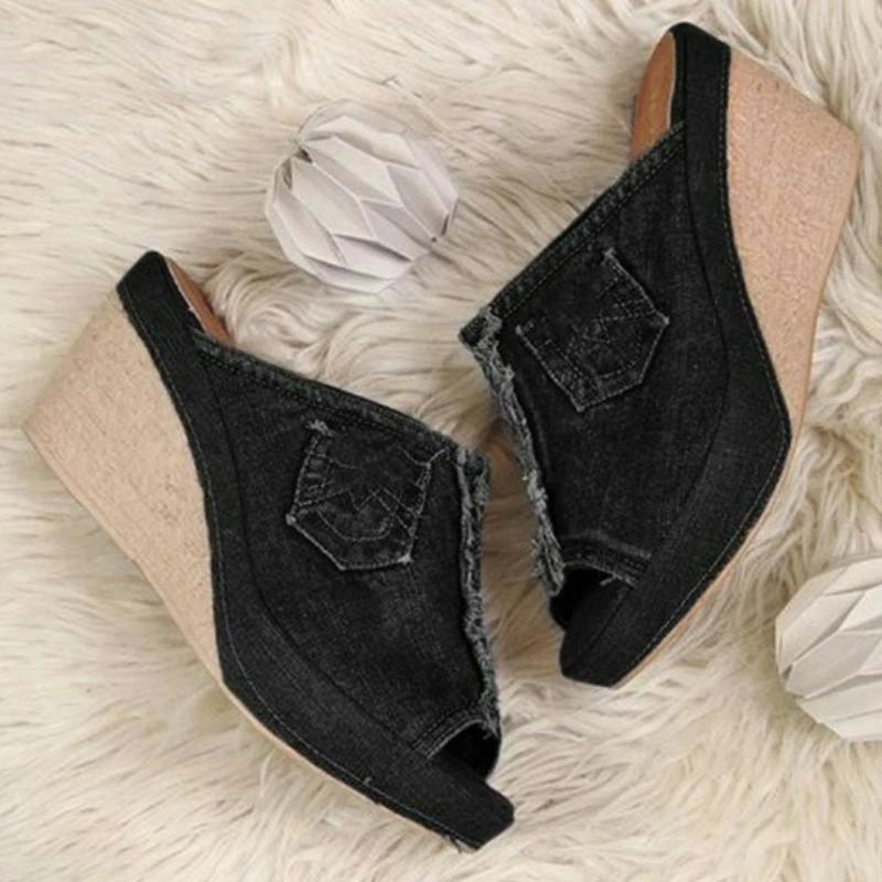 Women's Denim Wedge Heel Sandals