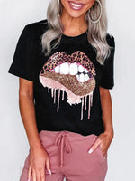 Leopard lip print round neck short sleeve T-shirt