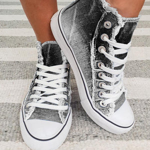 Denim sepia style frayed edge canvas sneakers