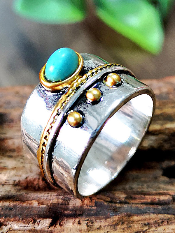 Thai Silver Turquoise Two-tone Ring