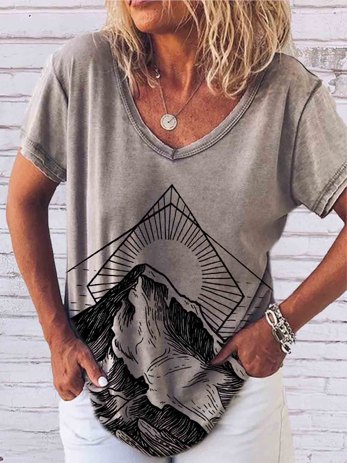 Women's Mountain Sunset Sea Water Print T-Shirt