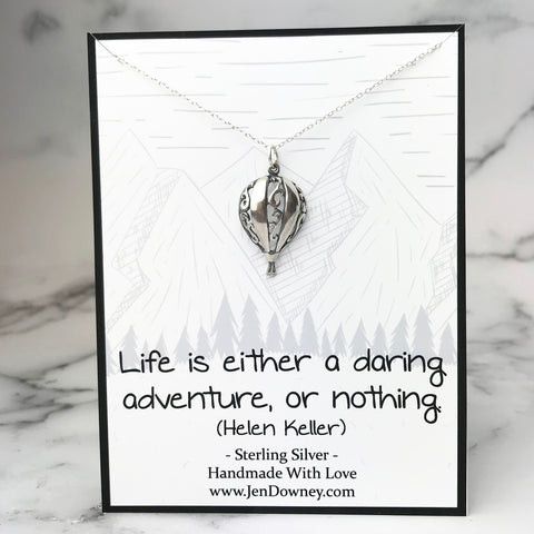 Life Is Either A Daring Adventure Or Nothing Sterling Silver Hot Air Balloon Necklace