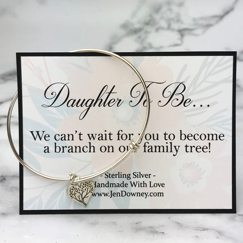 Daughter In Law Welcome To The Family Sterling Silver Tree Charm Bangle