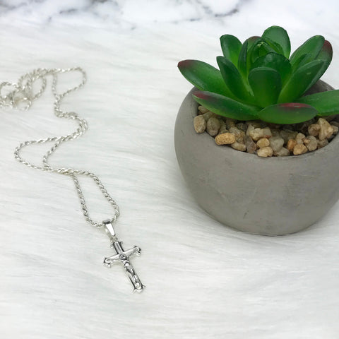 Mens Sterling Silver Crucifix Necklace French Rope Chain Necklace