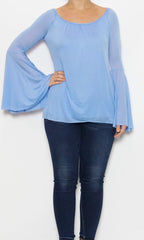 bell sleeve blue top laur aof pembroke spring and style fashion trends