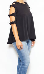 laura of pembroke black cold shoulder top spring and summer style trends