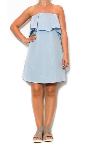 strapless dress on powder blue laura of pembroke