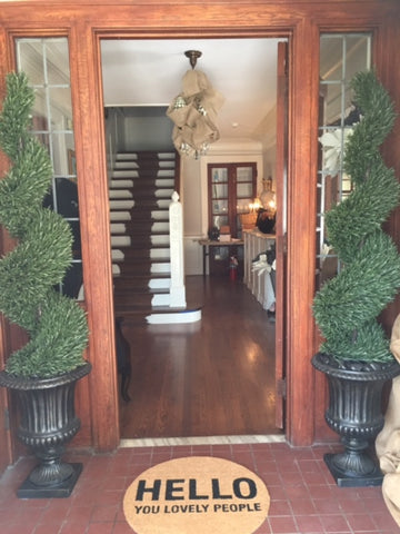 topiary trees welcome mat entrance laura of pembroke akron junior league showhouse