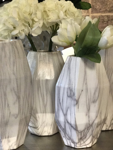 Faux Marble Geometric Vases