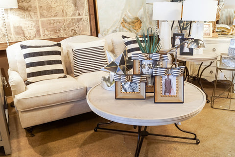 stripe pillows and frames