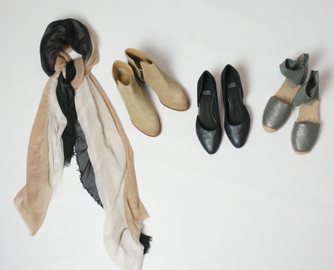 scarf shoes booties eileen fishier shoes laura of pembroke fall fashion capsule wardrobe
