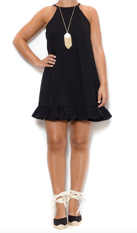 black flounce party dress with adorable wrap espadrilles