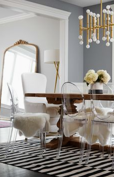 lucite chairs with fur seat covers