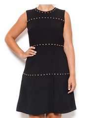 Black Studded Crepe Dress